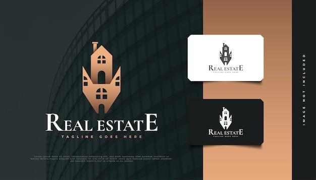 Luxuriöses abstraktes haus-logo-design für die identität von immobilienunternehmen. bau-, architektur- oder gebäudelogo-design