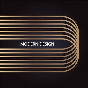 Luxuriöses abstraktes modernes design mit goldener ellipse auf schwarzem hintergrund