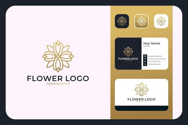 Luxuriöses blumen-linien-logo-design und visitenkarte