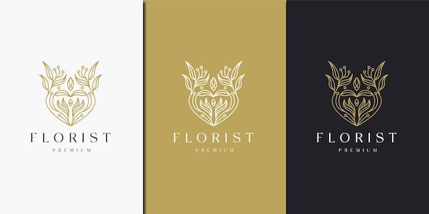 Luxuriöses blumenmuster mit entwurfsvorlage des linienstil-logo-symbols