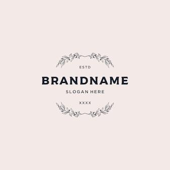 Luxuriöses blumenrahmen-logo-design