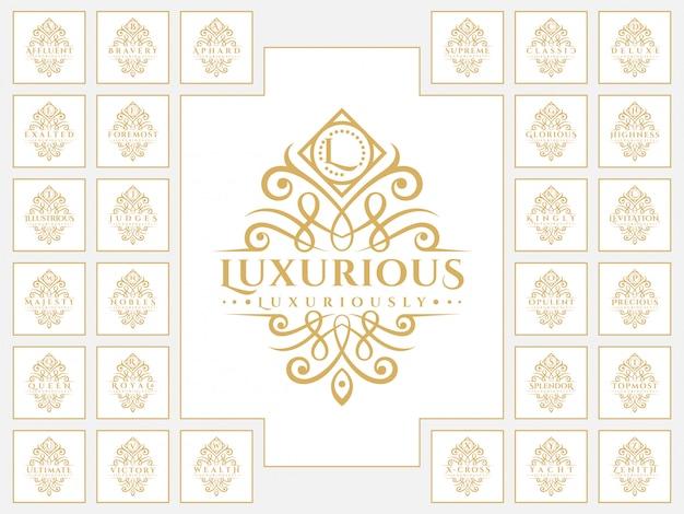 Luxuriöses buchstabenlogo mit klassischem ornamentstil