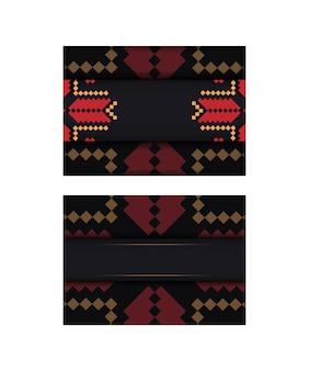 Luxuriöses design einer postkarte in schwarz mit slawischem ornament.