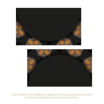 Luxuriöses design einer postkarte in schwarz mit slowenischen mustern. vektor-einladungskarte mit platz für ihren text und vintage-ornament.
