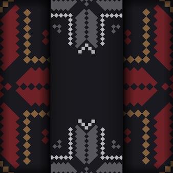 Luxuriöses design einer postkarte in schwarz mit slowenischen mustern.