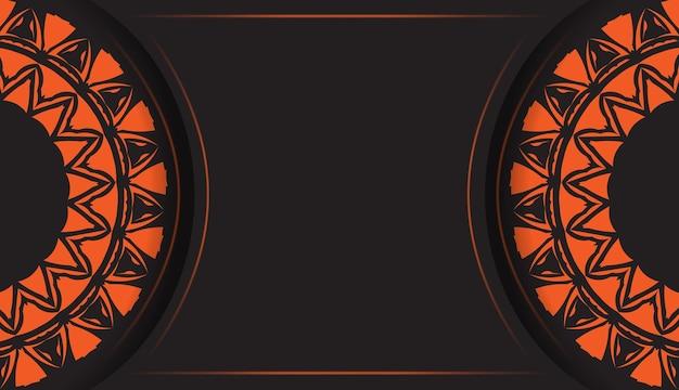 Luxuriöses design einer postkarte in schwarzer farbe mit orangen mustern. vektor-einladungskarte mit platz für ihren text und abstrakte verzierung.