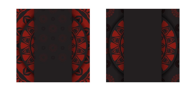 Luxuriöses druckfertiges postkartendesign in schwarz mit roten griechischen mustern. vektor-einladungskartenschablone mit platz für ihren text und abstrakte verzierung.