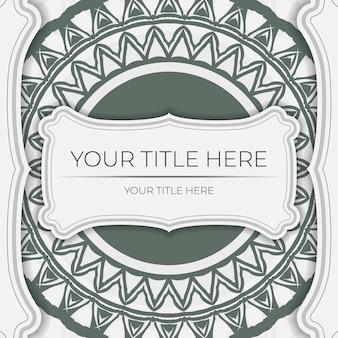 Luxuriöses druckfertiges weißes postkartendesign mit dunklen griechischen mustern. einladungskartenvorlage mit platz für ihren text und vintage-ornamente.