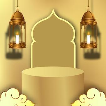 Luxuriöses elegantes ramadan-podium und goldene laternendekoration 3d