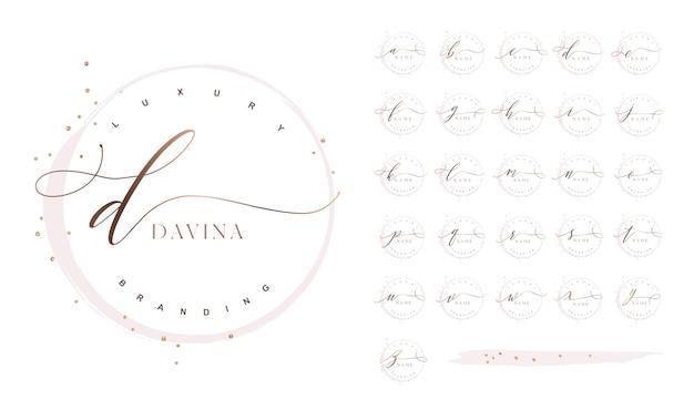 Luxuriöses, feminines logo-design mit kalligraphie-schwingungen und rundem rahmen
