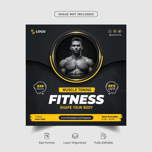 Luxuriöses fitnesstraining instagram-post oder social-media-banner-design mit schwarzem premium-vektor