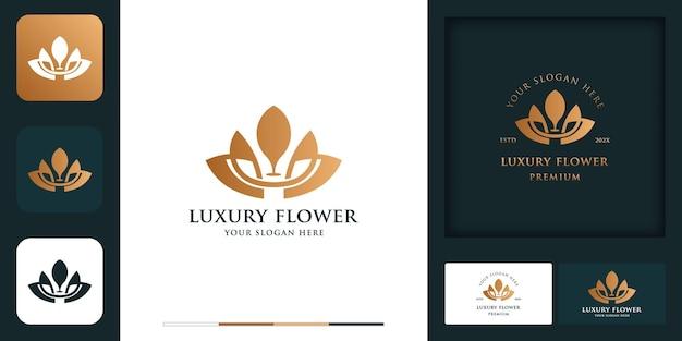 Luxuriöses florales modernes vintage-logo-design und visitenkarte