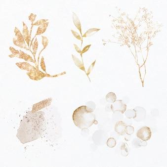 Luxuriöses glitzerndes botanisches set aus blattgold