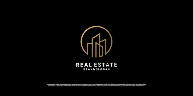 Luxuriöses goldenes immobilienlogo-design mit linienkonzept