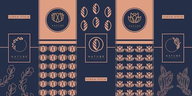 Luxuriöses goldenes verpackungsdesign, blume, natur, blumen, olivenbaum, muster. inspiration für logodesign