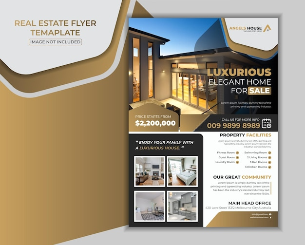Luxuriöses haus zum verkauf immobilien flyer vorlage