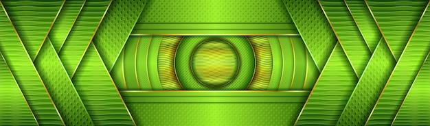 Luxuriöses helles grün mit überlappung des strukturierten layer-designs im golden-effekt-stil