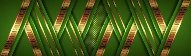 Luxuriöses helles grün mit überlappung des strukturierten schichtdesigns im golden-effekt-stil