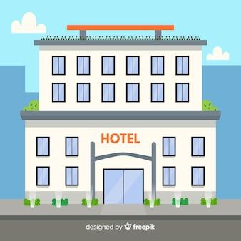 Luxuriöses hotelgebäude des flachen designs