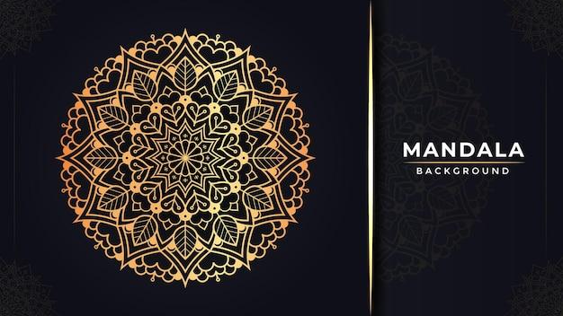 Luxuriöses islamisches dekoratives mandala-hintergrund-design mit goldener farbe