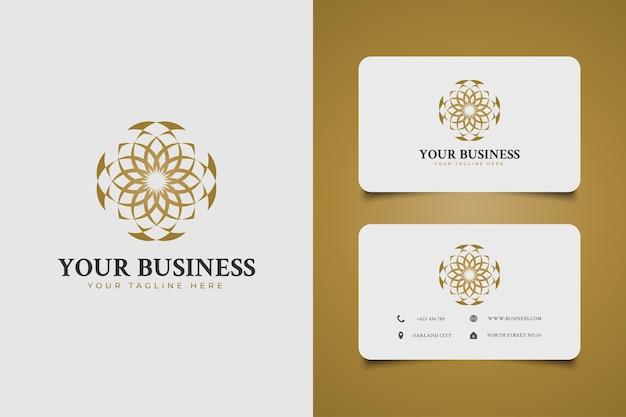 Luxuriöses mandala-logo mit elegantem stil im goldenen farbverlaufskonzept für ihr unternehmen. geeignet für hotel-, resort-, spa- oder beauty-logo