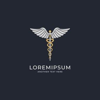 Luxuriöses medizinisches caduceus-logo-design