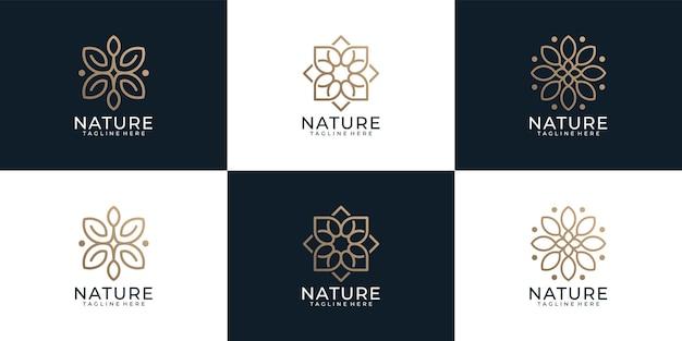 Luxuriöses minimalistisches kreatives naturblumen-logo-bundle