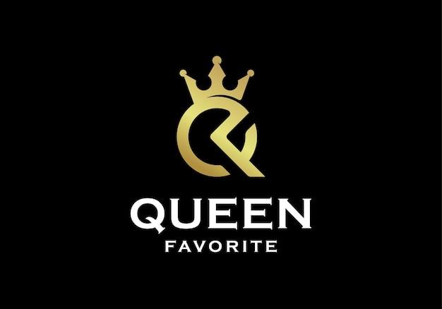 Luxuriöses monogramm qf oder fq mit inspiration für das design des kronenlogos
