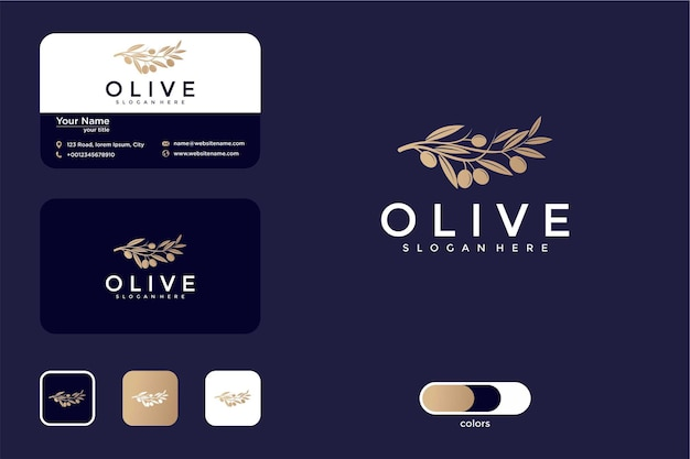 Luxuriöses olivgrünes logo-design und visitenkarte