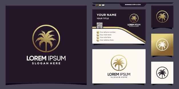 Luxuriöses palmenlogo mit goldener farbverlaufsfarbe und visitenkartendesign premium-vektor