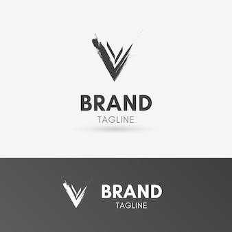 Luxuriöses pinsel-logo des buchstaben-v