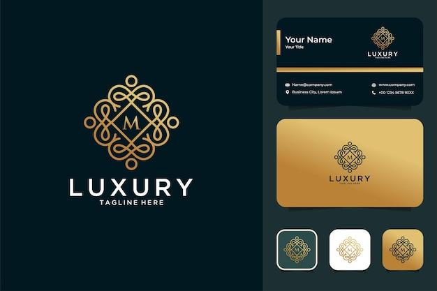 Luxuriöses rahmenlinien-logo-design und visitenkarte