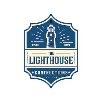 Luxuriöses retro-logo mit leuchtturmbau