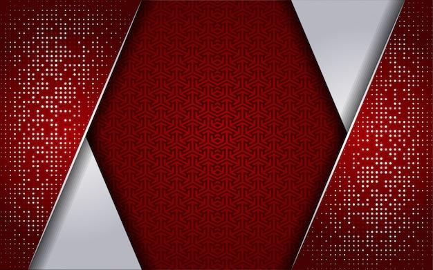 Luxuriöses rotes weiß mit weißem punkthintergrund
