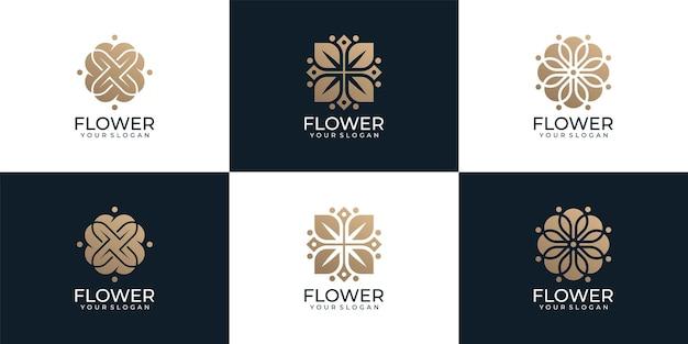 Luxuriöses schönes blumenlogo-design für yoga-kosmetik-gesundheitshotel-resort