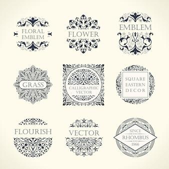 Luxuriöses set von vintage-emblemen und designrahmen