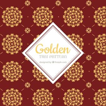 Luxuriöses thailändisches muster mit goldener art