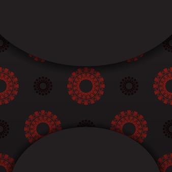 Luxuriöses vektordesign der postkarte in schwarzer farbe mit roten griechischen ornamenten. einladungskartendesign mit platz für ihren text und abstrakte muster.