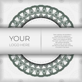 Luxuriöses vektordesign für postkarten in weißer farbe mit dunklen griechischen ornamenten. einladungskartendesign mit platz für ihren text und vintage-muster.