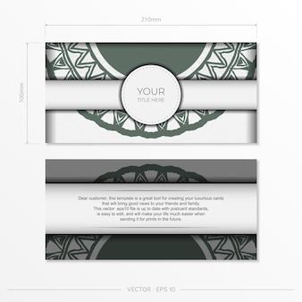 Luxuriöses vektorfertiges postkartendesign in weißer farbe mit dunklen griechischen mustern. einladungskartenvorlage mit platz für ihren text und vintage-ornamente.