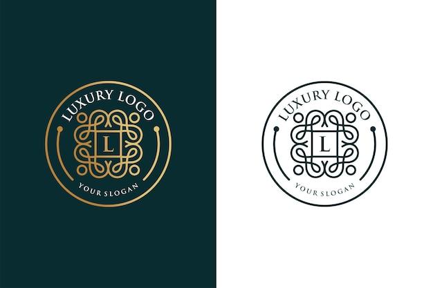 Luxuriöses vintage-logo-design mit goldener linie