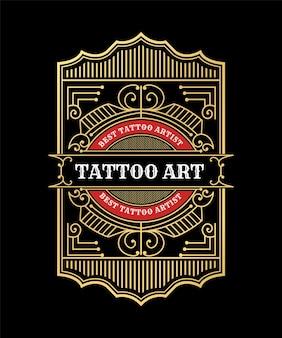 Luxuriöses vintage-tattoo-studio-emblem-logo-design mit dekorativem schnörkelrahmen für die verpackung