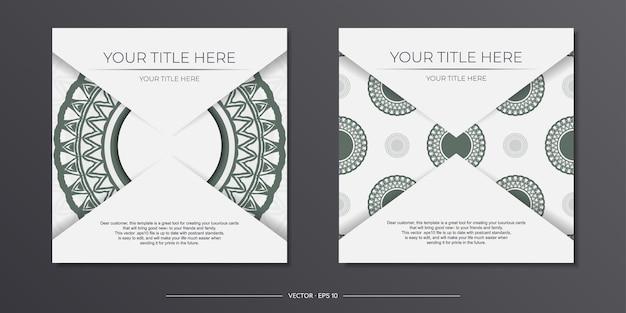 Luxuriöses weißes druckfertiges postkartendesign mit dunklen griechischen ornamenten. einladungsvorlage mit platz für ihren text und vintage-muster.