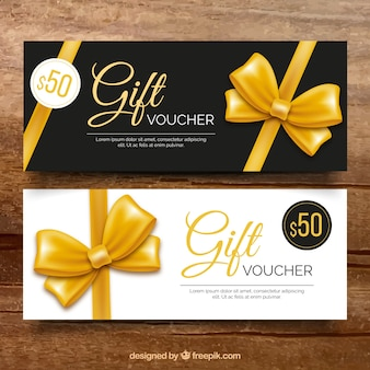 Luxuriöse Geschenkgutschein mit goldenen Bogen