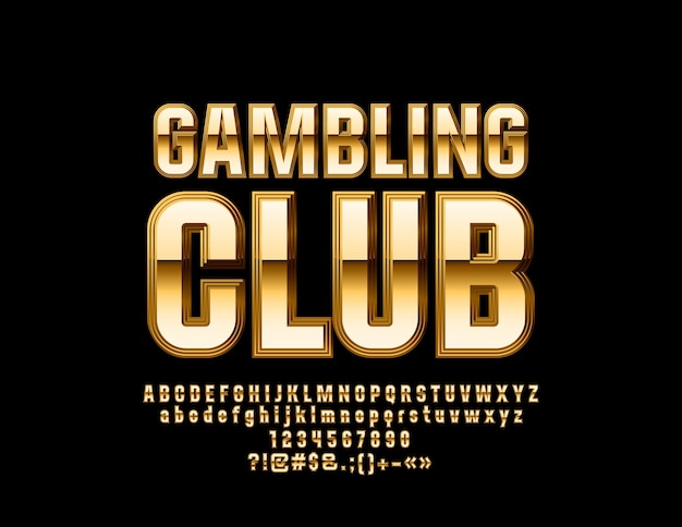 Luxury gambling club goldenes alphabet buchstaben zahlen und symbole elite hochglanzschrift
