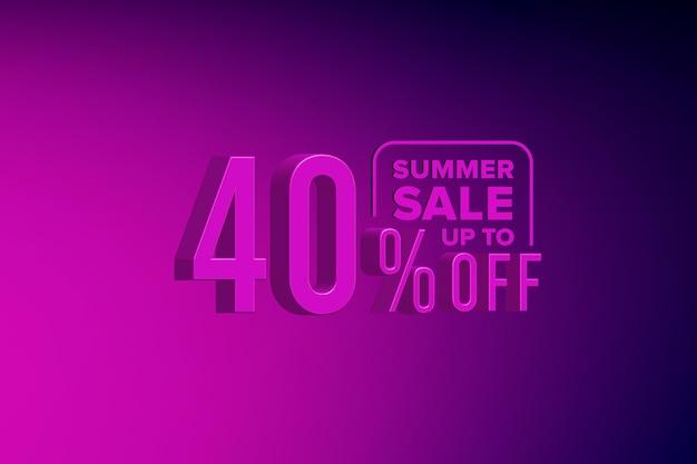 Luxus 3d-sommerverkaufsbanner-rabatt mit vierzig 40 prozent