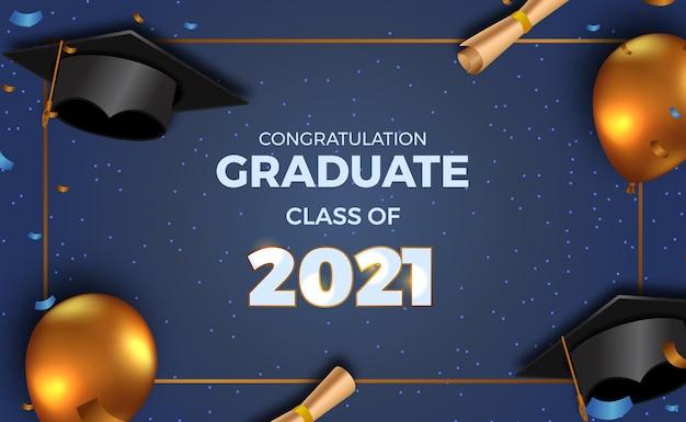 Luxus-abschlussfeier für klasse 2021 mit goldenem 3d-ballon und abschlusskappenhut und papier mit konfetti