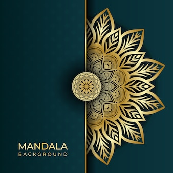 Luxus abstrakte islamische mandala kunst hintergrund in gold farbeffekten