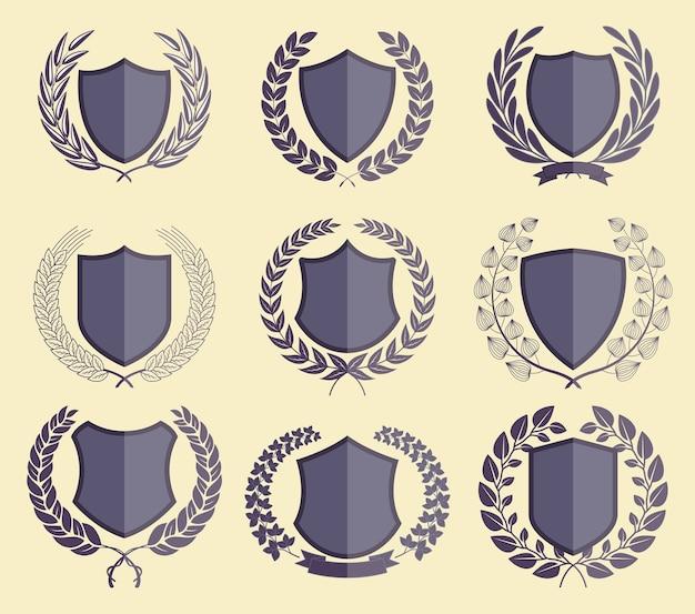 Luxus-abzeichen laurel kranz-sammlung
