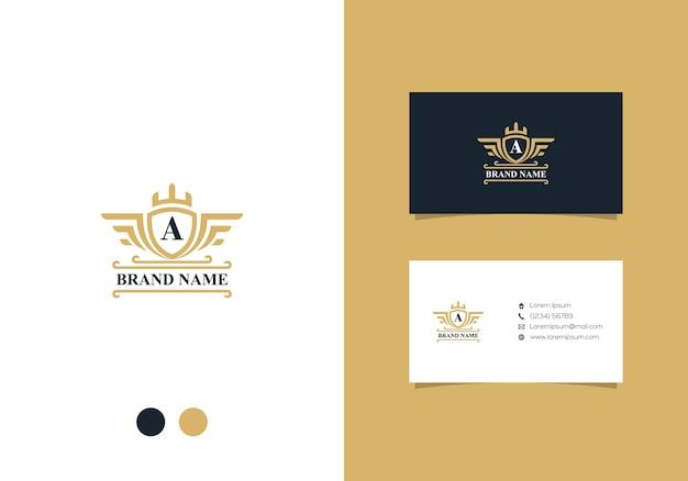 Luxus abzeichen logo design und visitenkarte